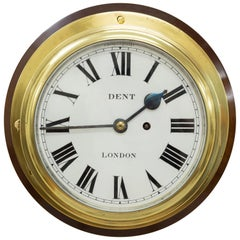 Victorian Brass Cased Fusee Ships Clock by Dent, London