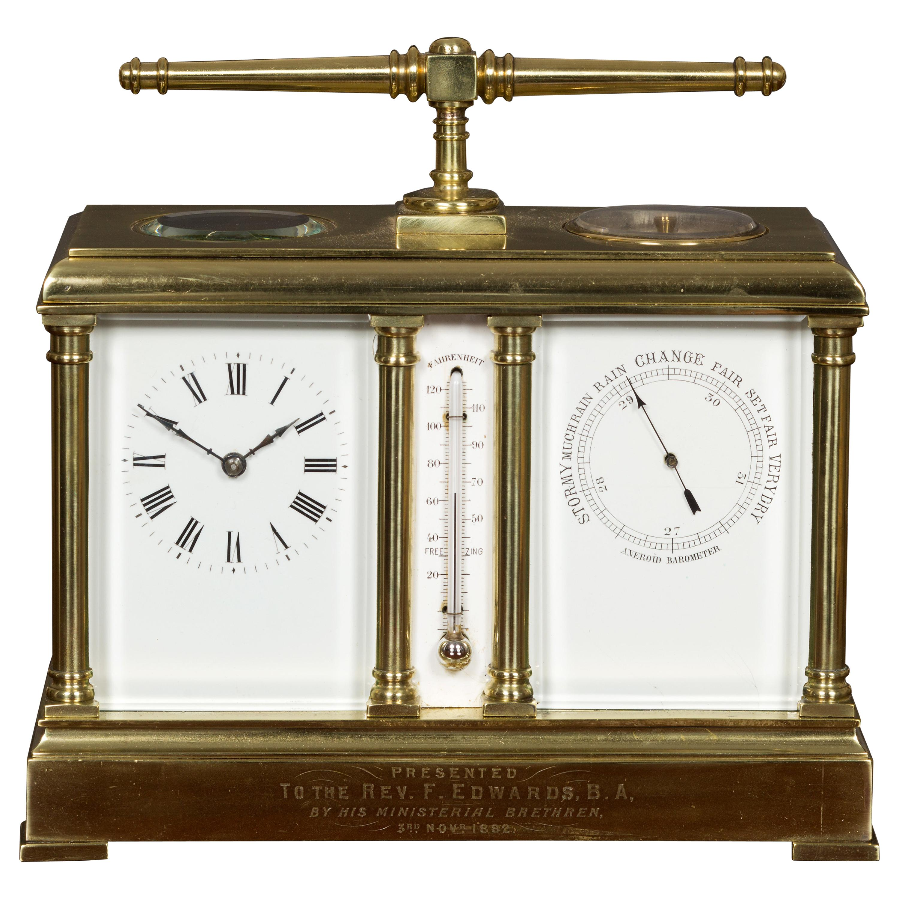 Victorian Brass Clock and Barometer Set with Thermometer