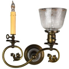 Victorian Brass Gas and Electric Sconce