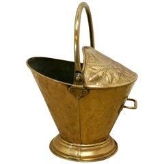 Victorian Brass Helmet Coal Scuttle