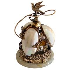 Victorian Brass & Mother of Pearl Bird Motif Table Bell