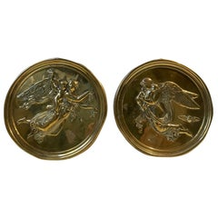 Victorian Brass Wall Plaques with Woman and Angles, 19th Century, England