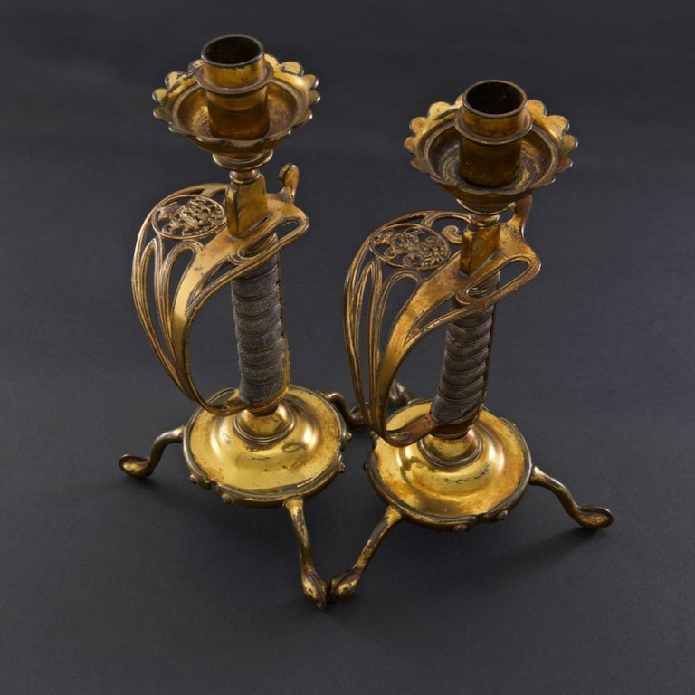 Victorian British Army Sword Hilt Candlesticks with Royal Monogram, circa 1905 In Good Condition For Sale In London, GB