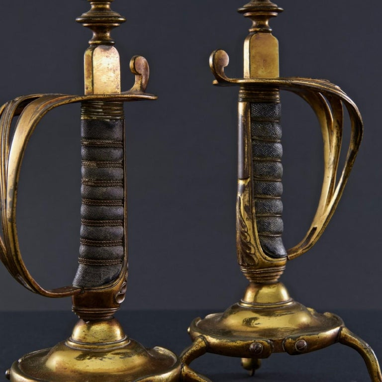 Early 20th Century Victorian British Army Sword Hilt Candlesticks with Royal Monogram, circa 1905 For Sale