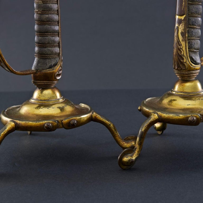 Victorian British Army Sword Hilt Candlesticks with Royal Monogram, circa 1905 For Sale 1