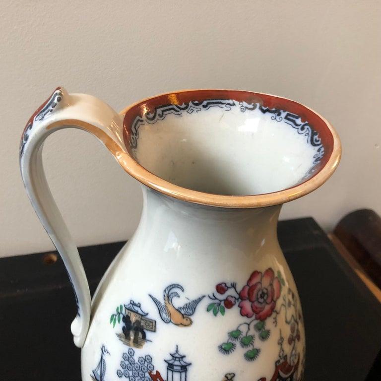 Victorian British Oriental Decor Ceramic Jug, circa 1870 In Good Condition For Sale In Aci Castello, IT