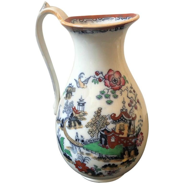 Victorian British Oriental Decor Ceramic Jug, circa 1870 For Sale