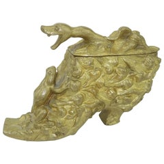 Victorian Bronze Shoe Sculpture Box With Snake & Frog