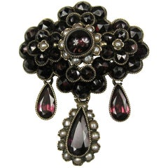 Victorian Brooch Gold Rose Cut Bohemian Garnet Pearl Teardrop Pin