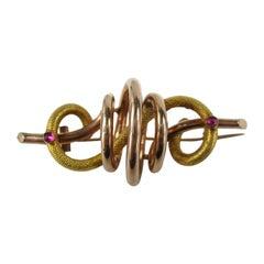 Victorian Brooch Pin Rose Yellow Gold Pin