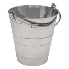 Victorian 'Bucket Shape' Antique Sterling Silver Ice Bucket by Henry Atkin, 1896