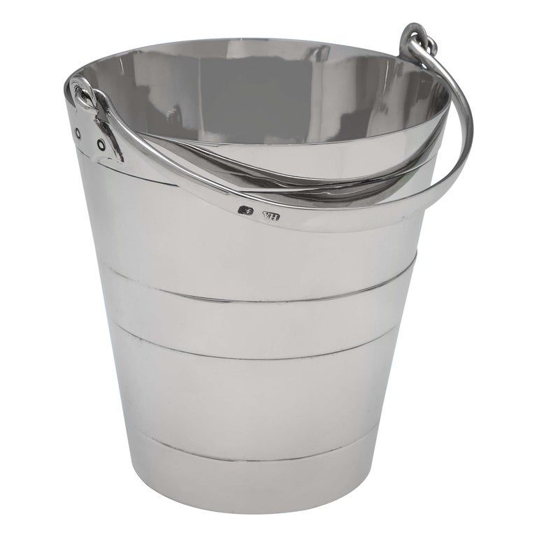 Victorian 'Bucket Shape' Antique Sterling Silver Ice Bucket by Henry Atkin, 1896 For Sale