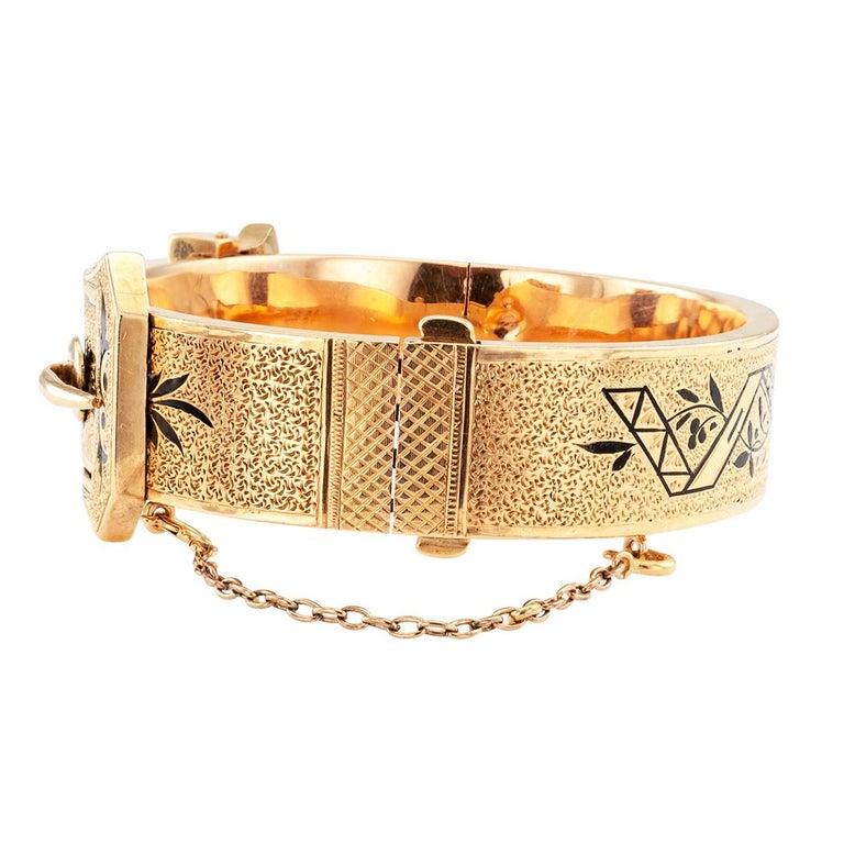 Women's Victorian Buckle Bangle Enamel Gold Bracelet For Sale