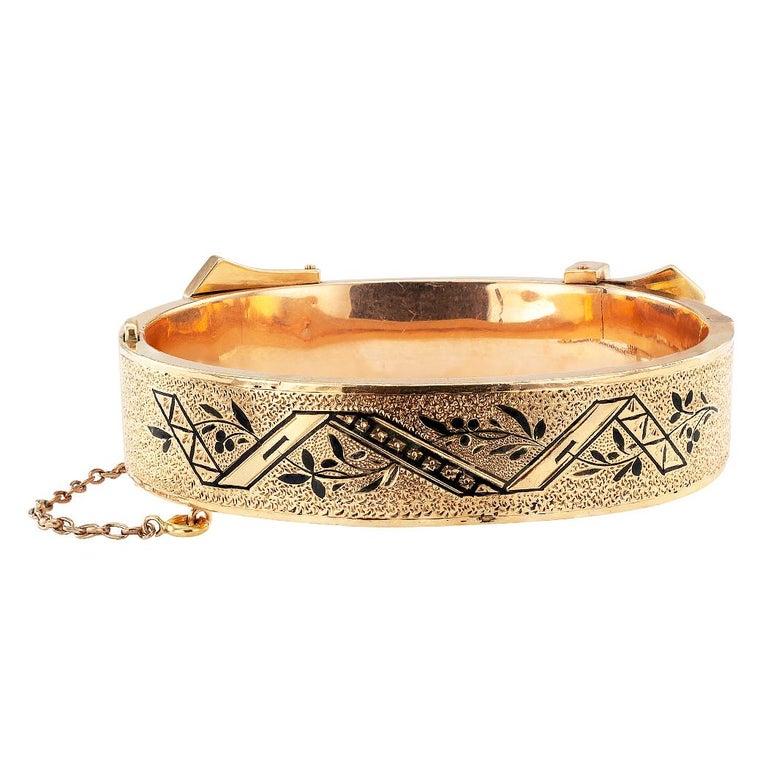 Victorian Buckle Bangle Enamel Gold Bracelet For Sale 1