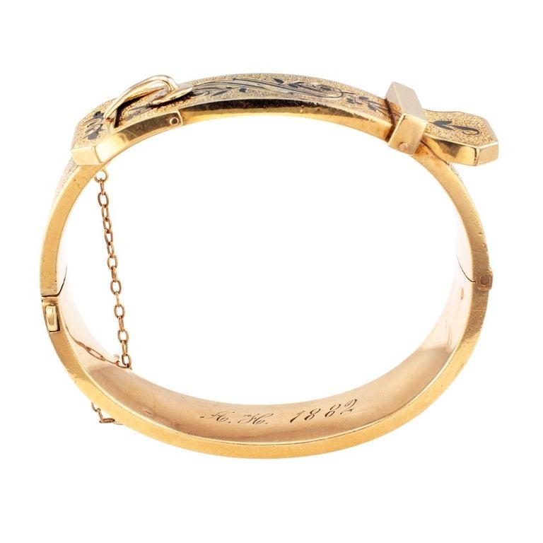 Victorian Buckle Bangle Enamel Gold Bracelet For Sale 2