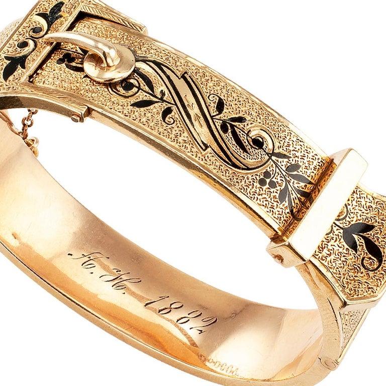Victorian Buckle Bangle Enamel Gold Bracelet For Sale 3