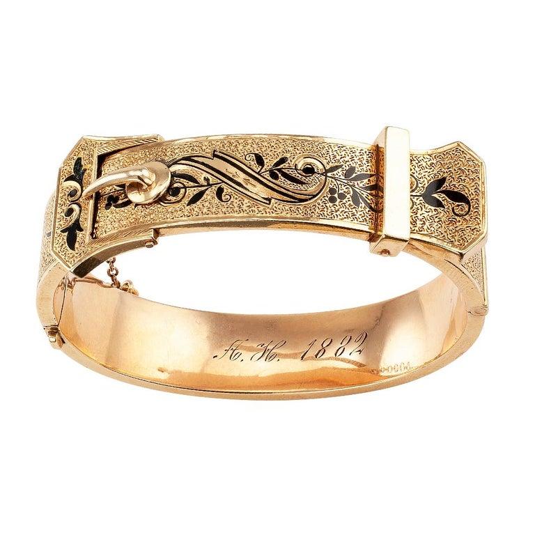 Victorian Buckle Bangle Enamel Gold Bracelet For Sale