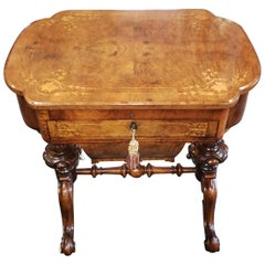 Victorian Burl Walnut Sewing/Writing Table