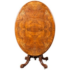 Victorian Burl Wood Veneered Till-Top Table with Mahogany Carved Foot