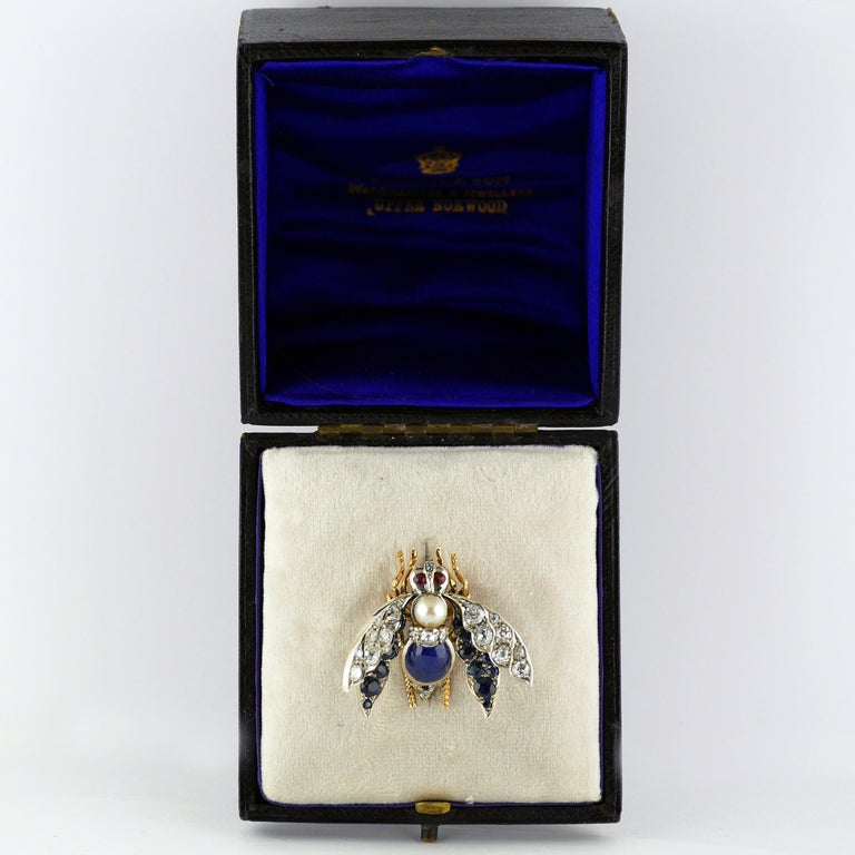 Victorian Burma Sapphire 4.60ct Certificated Untreated, Pearl, Ruby Bee/Insect/B For Sale 7