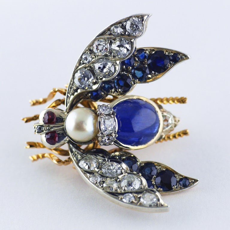 Women's or Men's Victorian Burma Sapphire 4.60ct Certificated Untreated, Pearl, Ruby Bee/Insect/B For Sale