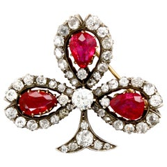 Victorian Burmese Ruby and Diamond Clover Brooch, circa 1880s