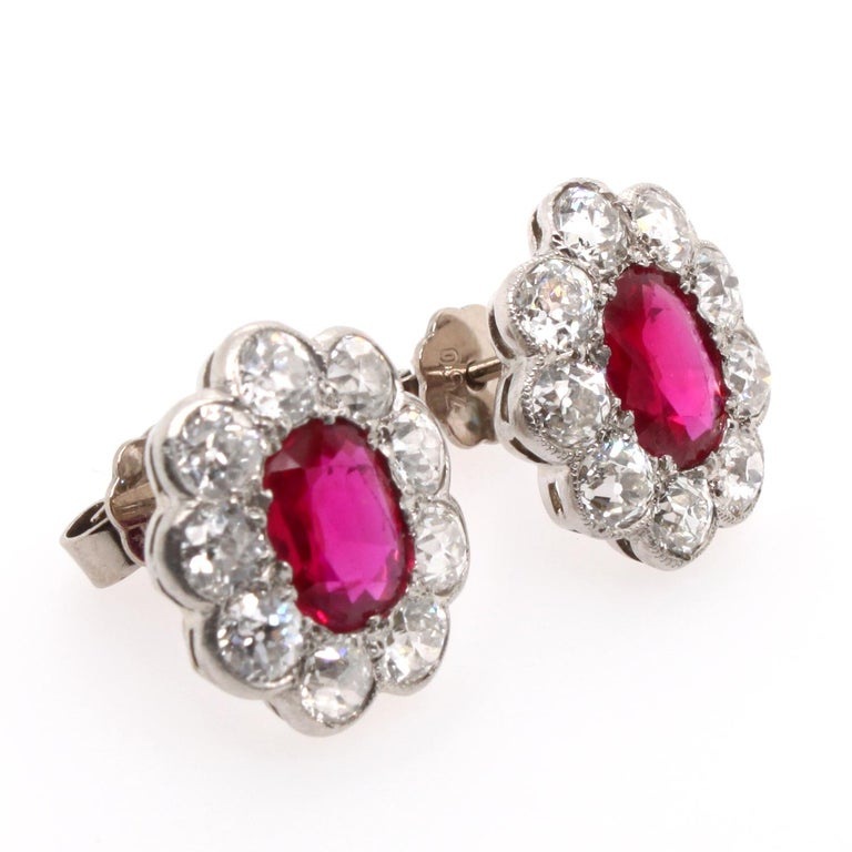Women's Victorian Burmese Ruby and Diamond Cluster Earrings, 1880s For Sale