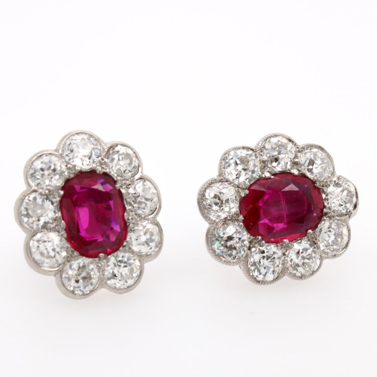 Victorian Burmese Ruby and Diamond Cluster Earrings, 1880s For Sale 1