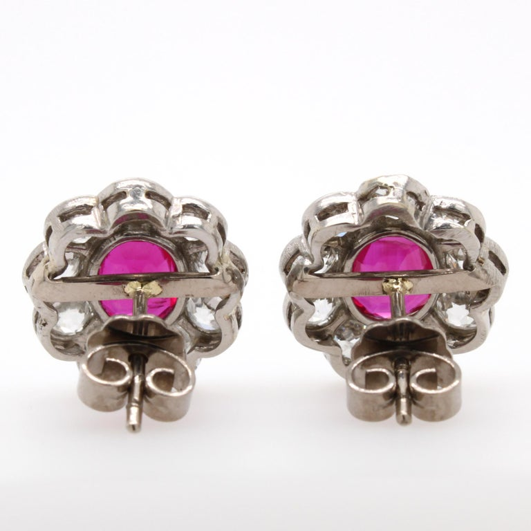 Victorian Burmese Ruby and Diamond Cluster Earrings, 1880s For Sale 2