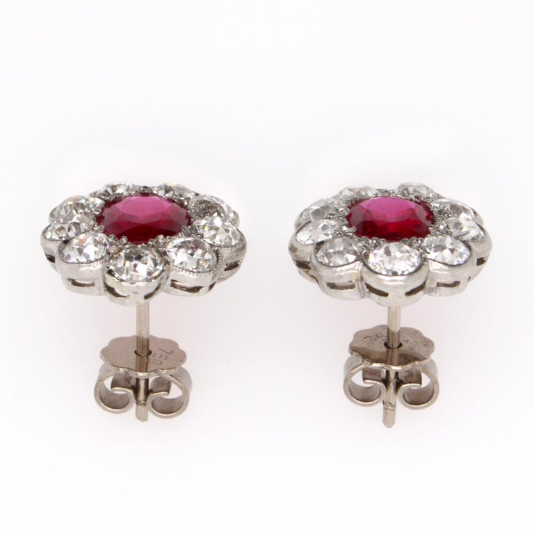 Victorian Burmese Ruby and Diamond Cluster Earrings, 1880s For Sale 3