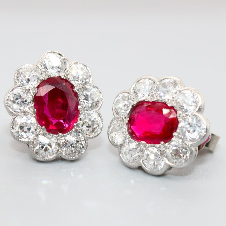 Victorian Burmese Ruby and Diamond Cluster Earrings, 1880s For Sale 5