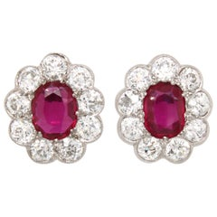 Victorian Burmese Ruby and Diamond Cluster Earrings, 1880s