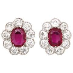 Victorian Burmese Ruby and Diamond Cluster Earrings, 1880s