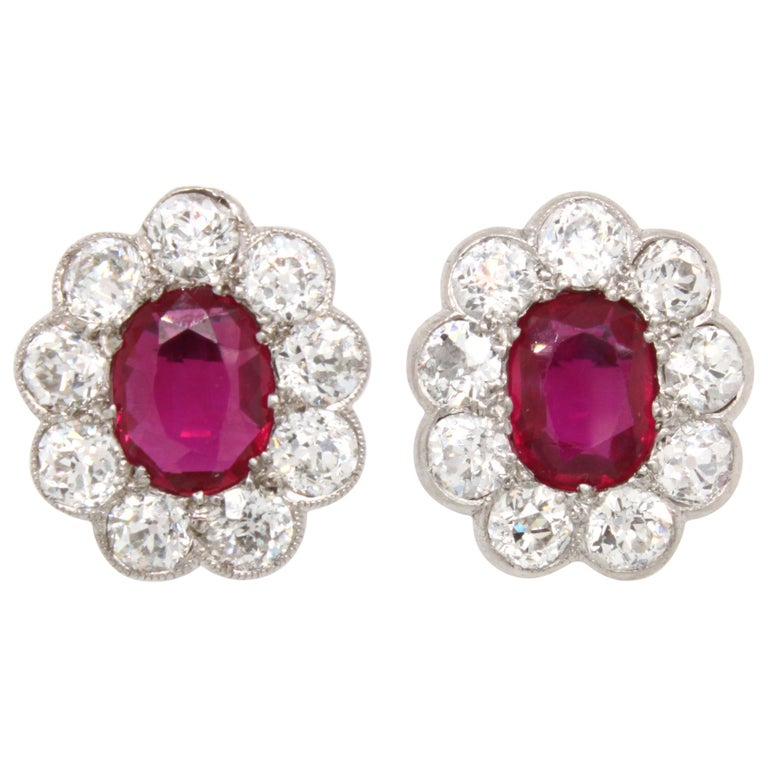 Victorian Burmese Ruby and Diamond Cluster Earrings, 1880s For Sale