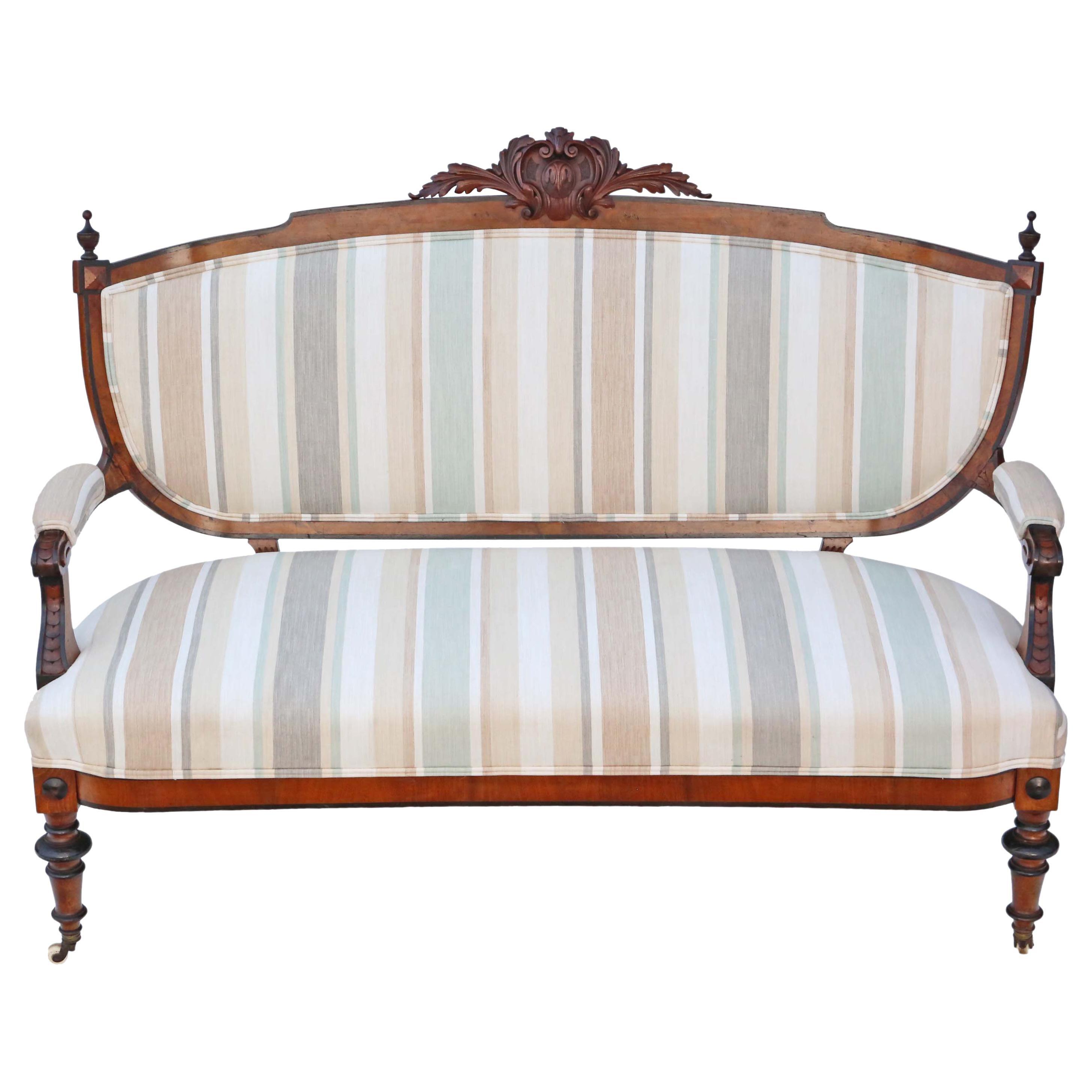 Victorian Burr Walnut Aesthetic Sofa