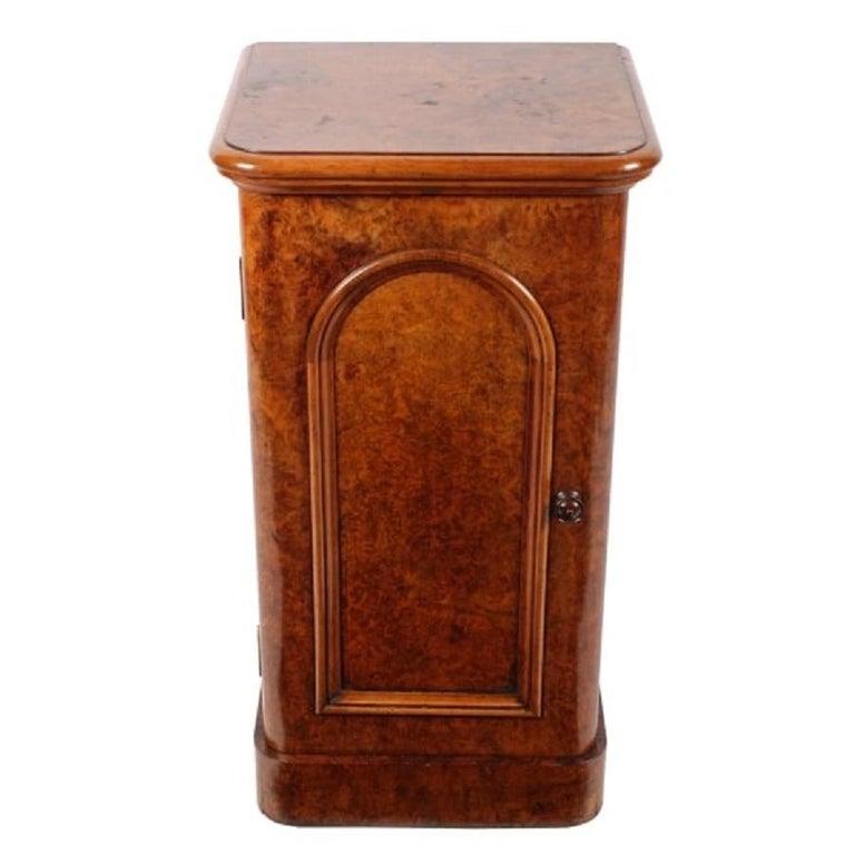 European Victorian Burr Walnut Bedside Cabinet, 19th Century For Sale