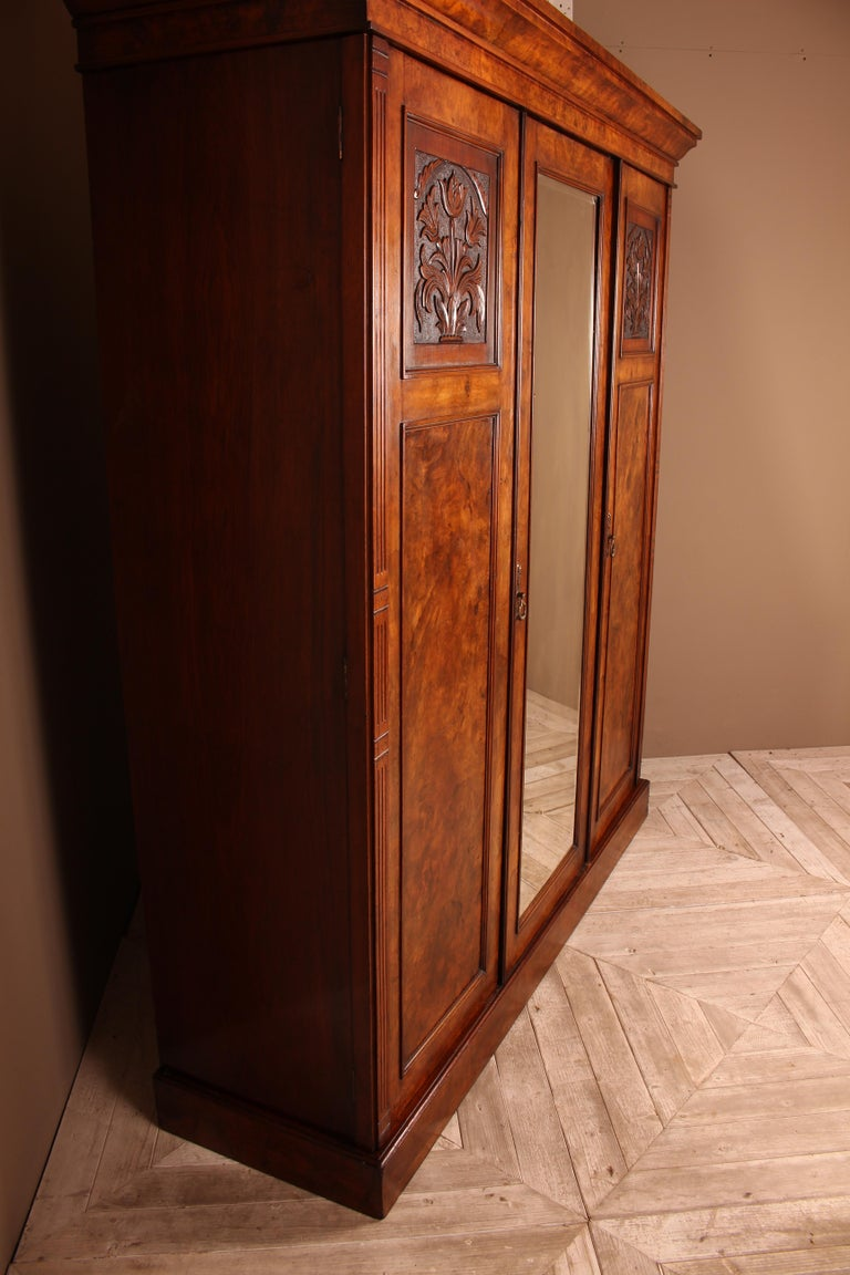 Victorian Burr Walnut Compactum Wardrobe Which Breaks Down into Five Pieces In Good Condition For Sale In Heathfield, East Sussex