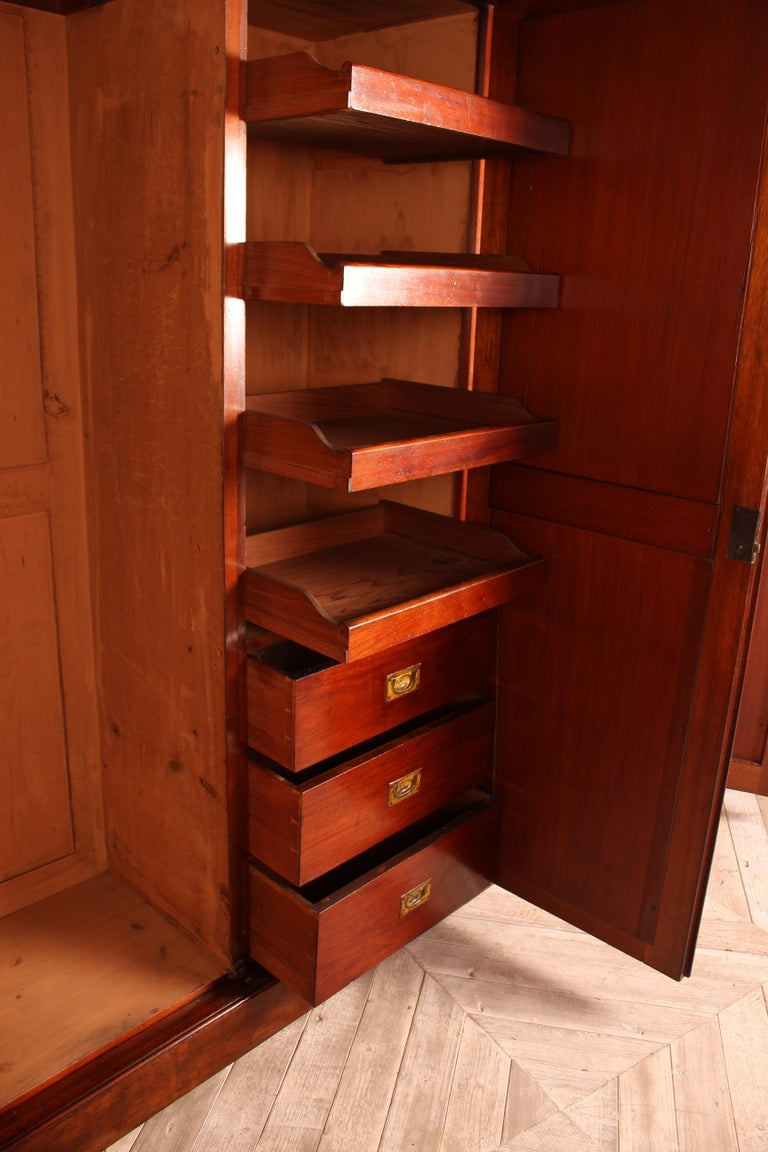 Brass Victorian Burr Walnut Compactum Wardrobe Which Breaks Down into Five Pieces For Sale