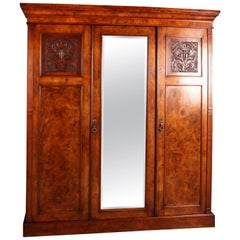 Victorian Burr Walnut Compactum Wardrobe Which Breaks Down into Five Pieces