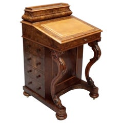 Victorian Burr Walnut Davenport Writing Desk with Satin Wood Interior