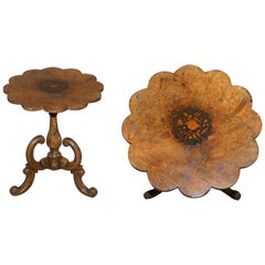 Victorian Burr Walnut Flower Tripod Side Table Victorian Ornate Carving Inlaid