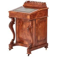 Victorian Burr Walnut Freestanding Davenport