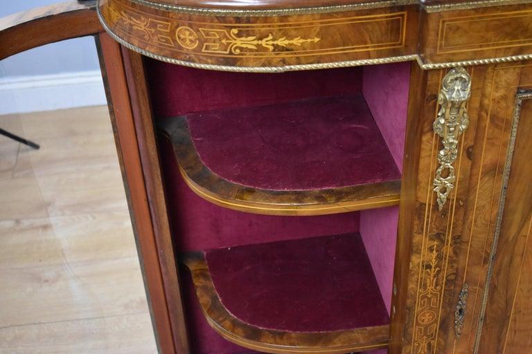 Victorian Burr Walnut Inlaid Credenza For Sale 6