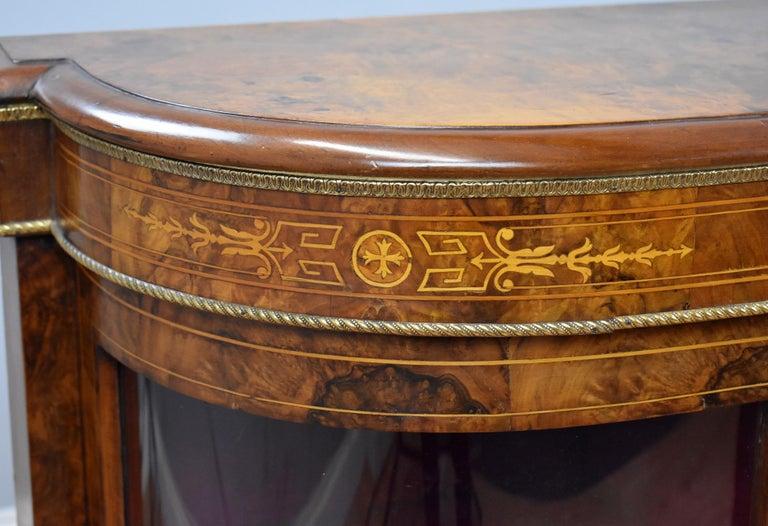 Victorian Burr Walnut Inlaid Credenza For Sale 1