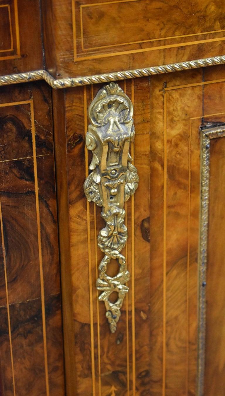Victorian Burr Walnut Inlaid Credenza For Sale 2