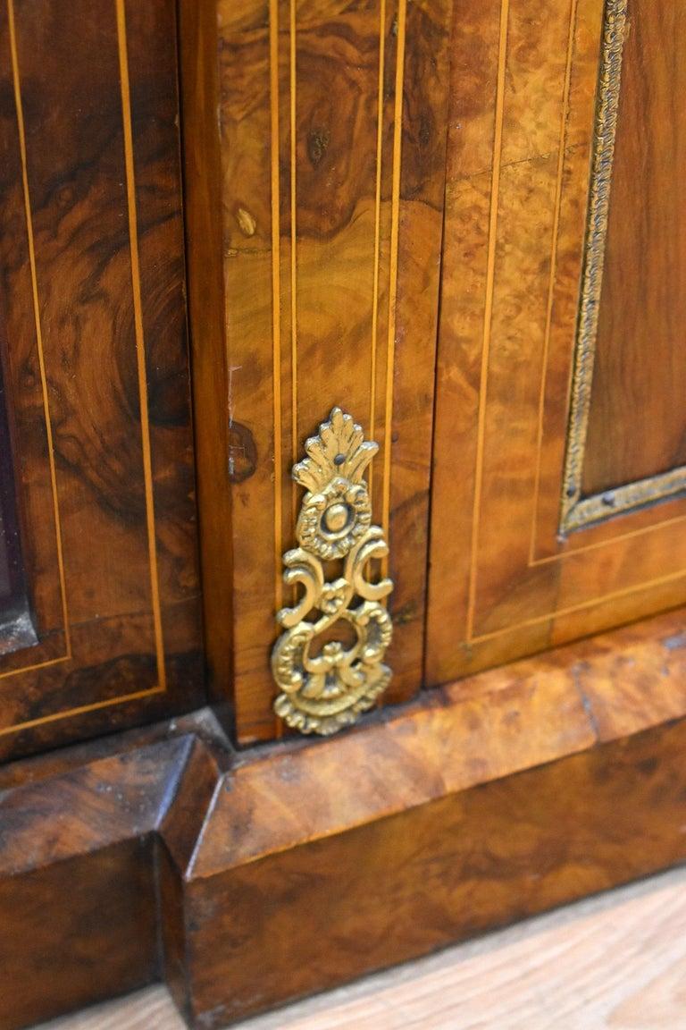 Victorian Burr Walnut Inlaid Credenza For Sale 3