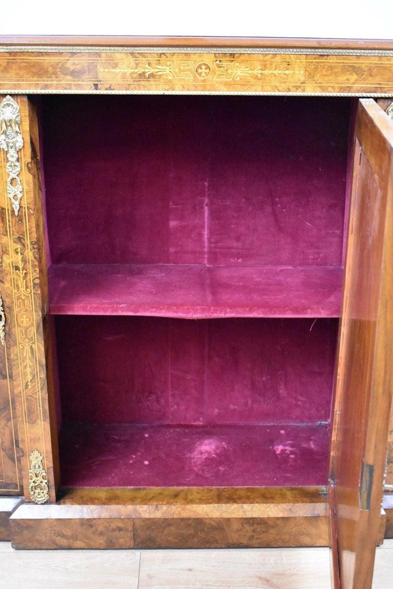 Victorian Burr Walnut Inlaid Credenza For Sale 5