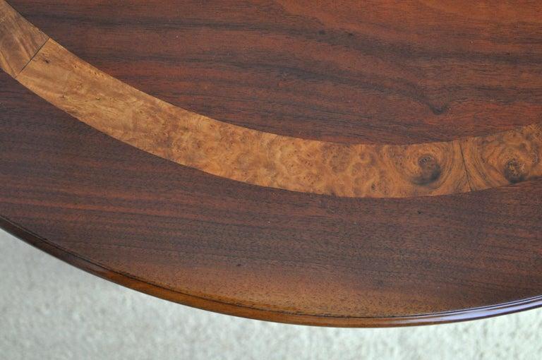 Victorian Burr Walnut, Mahogany and Ebony Circular Centre Table For Sale 1