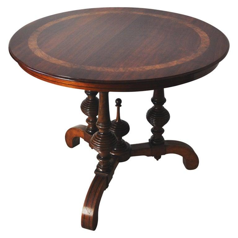 Victorian Burr Walnut, Mahogany and Ebony Circular Centre Table For Sale