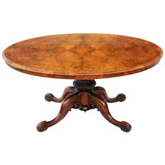 Antique quality Victorian Burr Walnut Oval Loo Tilt-Top Table 19th Century